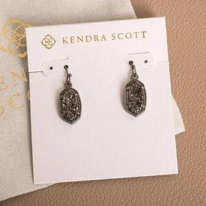 NEW Kendra Scott Lee Gunmetal Earrings Black Drusy